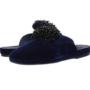 Donna Karan Cara Velvet Beaded Sapphire Mules